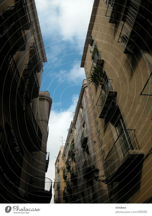 Human being Sky Old Street Window Art Going To go for a walk Balcony Spain Barcelona