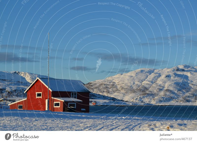 Sky Nature Blue Water White Red Landscape House (Residential Structure) Winter Snow Wood Lake Air Ice Weather Earth