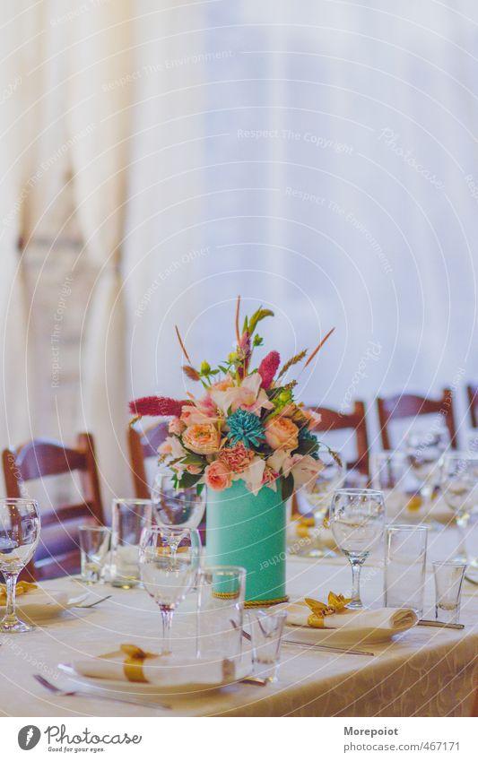 * Green White Flower Feasts & Celebrations Pink Orange Decoration Gold Glass Table Crockery Tablecloth Flower vase Champagne glass Table decoration