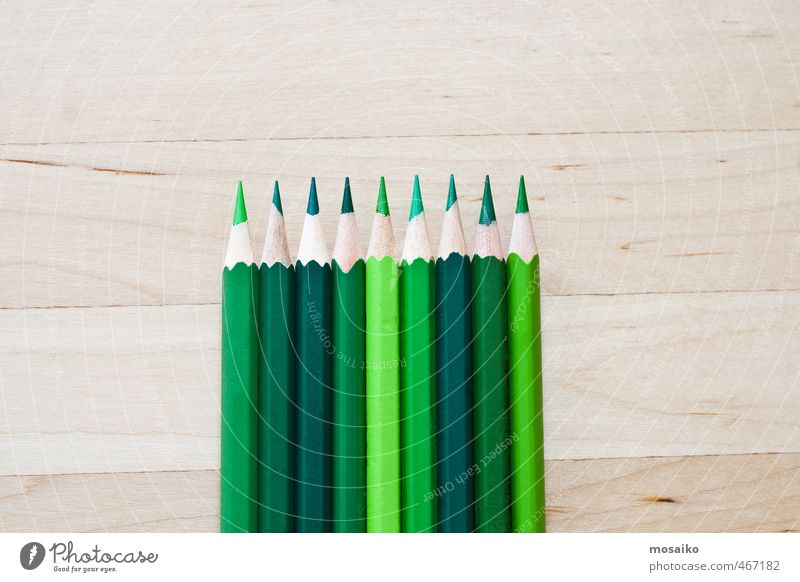 green pens on wooden background School Academic studies Work and employment Tool Art Pen Wood Draw Bright Green Colour Idea Inspiration Creativity Pure Crayon