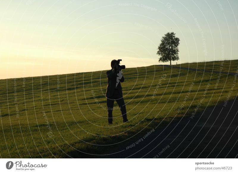 please smile Photographer Silhouette Dusk Camera