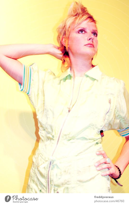 Woman Yellow Style Hair and hairstyles Clothing Model Dress
