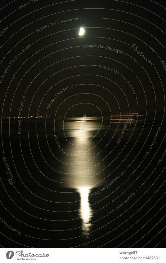 White Ocean Red Black Dark Watercraft Baltic Sea Navigation Moon Night sky Ferry Tripod Moonlight
