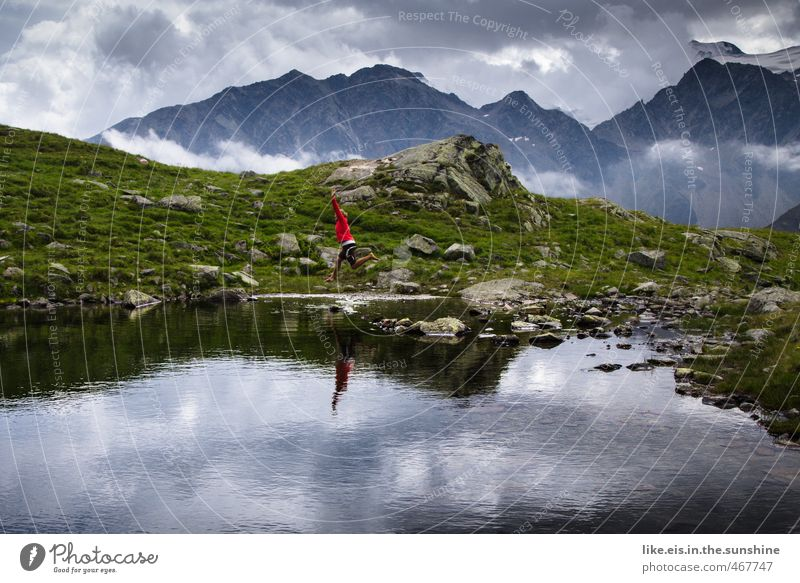 Human being Nature Youth (Young adults) Vacation & Travel Young woman Landscape Clouds Far-off places Environment Mountain Life Feminine Grass Playing Freedom