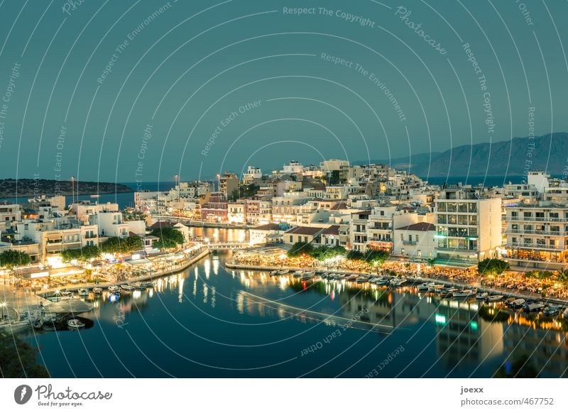 Agios Nikolaos Vacation & Travel Tourism Island Cloudless sky Night sky Horizon Summer Beautiful weather Bay Crete Small Town Port City Old town Overpopulated