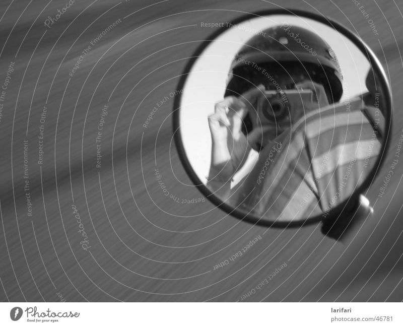 Impression. Speed Scooter Mirror Black White Summer Italy Helmet Woman Backwards Stripe Hand Man Dark Physics Europe Emotions Moody In transit Virgin land