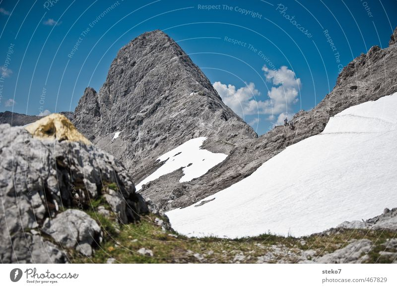 path marking Beautiful weather Snow Alps Mountain Peak Hiking Blue Gray White Road marking Footpath Side Colour photo Exterior shot Day