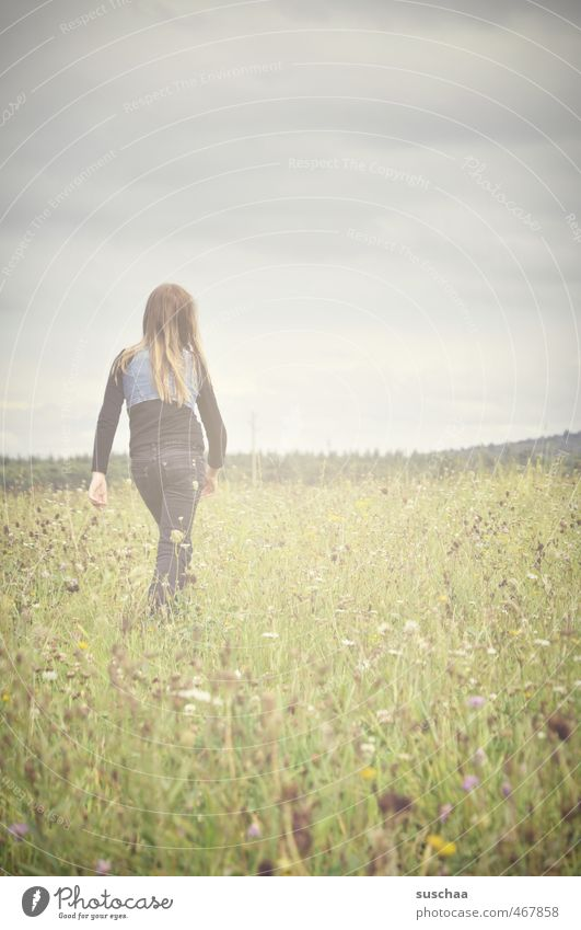 Human being Child Sky Nature Youth (Young adults) Green Plant Summer Relaxation Young woman Landscape Girl Flower Clouds Environment Meadow