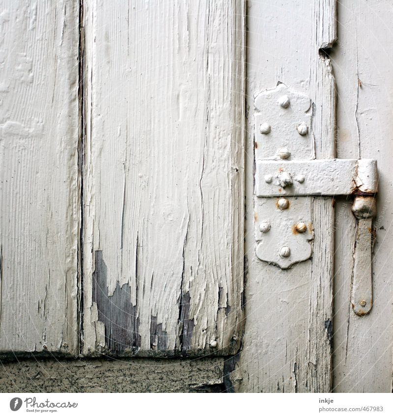 Old White Gray Door Living or residing Change Derelict Decline Flake off Hinge Wooden door Brittle Old times Metal fitting