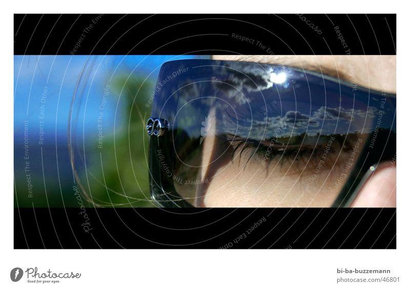 sunglasses Sunglasses Reflection Progress Vineyard Eyelash Clouds Eyes Sky Blue Detail Face escada