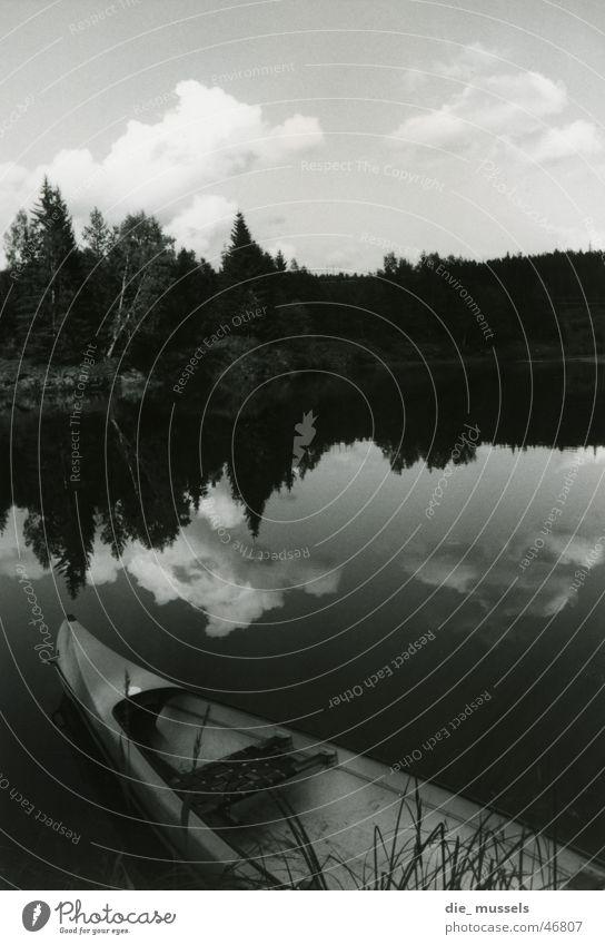 lake of mirrors Lake Mirror Watercraft Forest Black & white photo