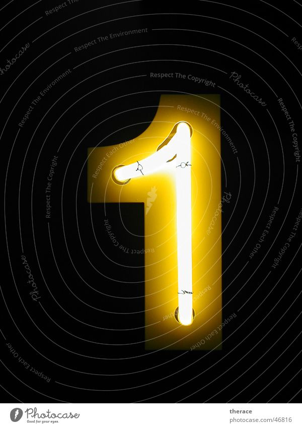 1 Yellow Dark Lamp Lighting Digits and numbers Advertising Typography Neon light Tin Frame