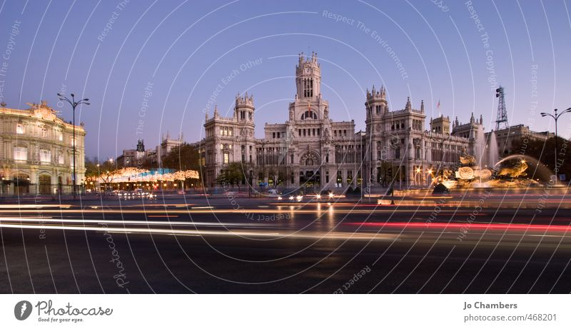 Plaza de la Cibeles Panorama Madrid Spain Europe Town Capital city Downtown Manmade structures Building Architecture Tourist Attraction Landmark Road traffic