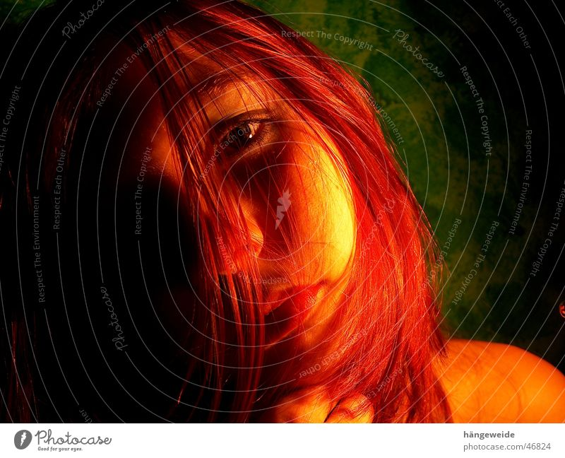 Fire in black Red Portrait photograph Girl Grief Green Yellow Looking Face Hair and hairstyles Crazy Sadness regretfully Shadow Blaze