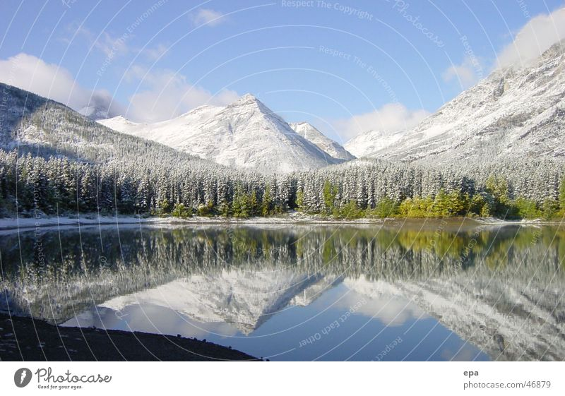 September in Canada Lake Autumn Virgin snow Cold Vacation & Travel Snow reflection Freedom Water Landscape Mountain Rocky Mountains Sky