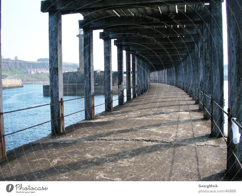 pier Ocean Wood Footbridge Whitby England Brittle Empty Fishing (Angle) Jetty Wood flour Lanes & trails Rust sea timber way Corridor