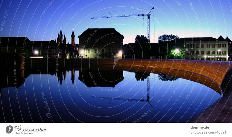 Würzburg at night Night Dark Twilight Long exposure Town Evening Reflection Mirror Well Crane House (Residential Structure) Church Blue Build Building Dome