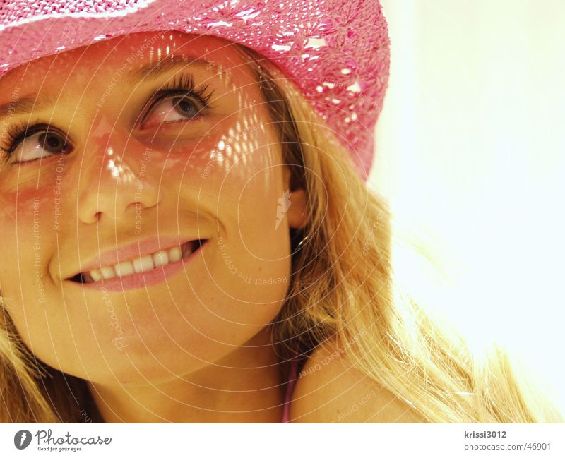 Woman Beautiful Summer Joy Laughter Blonde Pink Happiness Model Hat