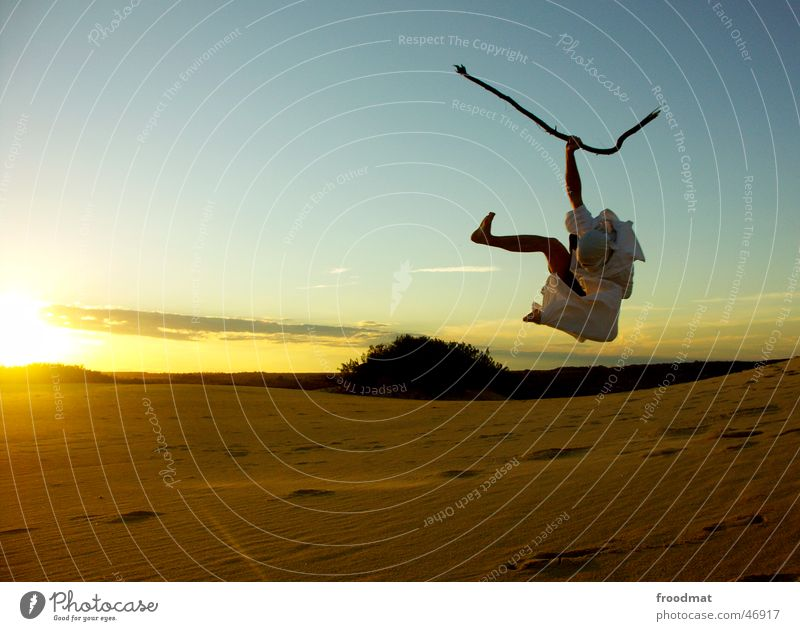 boisterous wannabe Bedouin Jump Sunset Back-light Action Stick Sheet Joie de vivre (Vitality) Brazil Wrap up warm Mask itaunas Joy Sand Beach dune Desert Stupid
