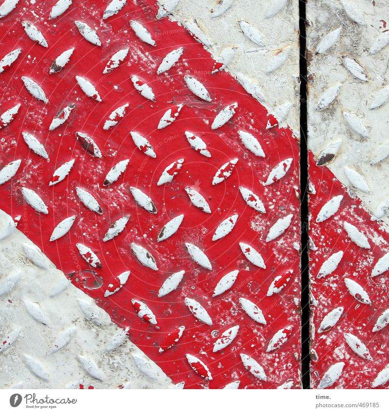Haf Decoration II Logistics Services Construction site Lanes & trails Paving tiles industrial sheet Seam Metal Line Old Firm Trashy Town Red White Esthetic