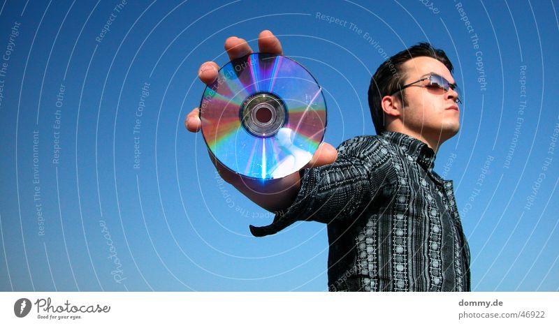 Man Sky Sun Blue Summer Music Round Eyeglasses Open Stand Advertising Shirt Silver CD Data storage
