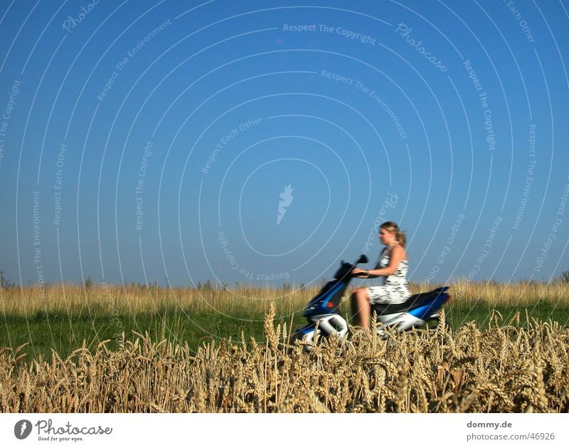 Woman Sky Sun Green Blue Summer Yellow Motorcycle Brown Field Speed Driving Dress Beautiful weather Scooter Human being