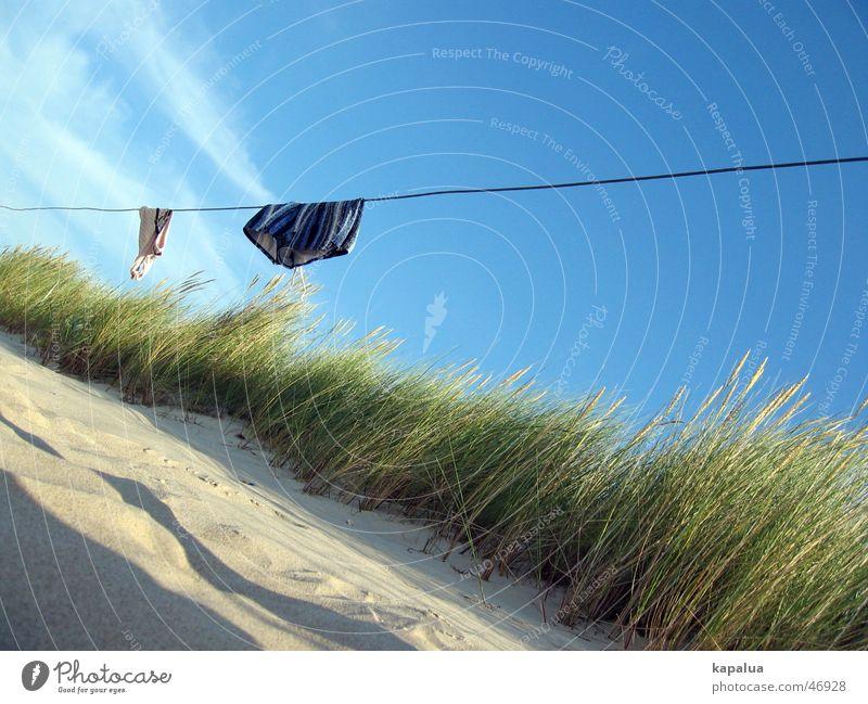 Sky Sun Ocean Green Blue Beach Clouds Sand Rope Bikini Common Reed Beach dune Hang Beautiful weather Swimming trunks