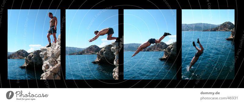 Man Water Sun Summer Cold Jump Mountain Stone Rock 4 Pants Part Fellow Human being Cliff
