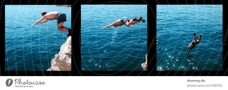 jump III Jump Croatia Baška Cliff 3 Fellow Man Pants Swimming trunks Cold Summer Water zdenek Rock Stone Part Lomography Mountain Sun Swimming & Bathing