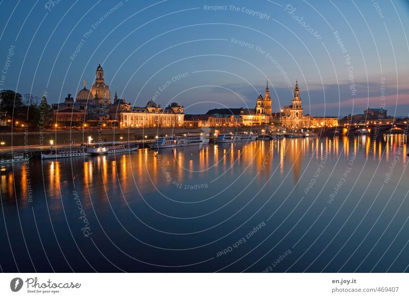 light plays Vacation & Travel Trip Sightseeing City trip Night sky River Dresden Saxony Federal eagle Europe Town Skyline Church Building Inland navigation