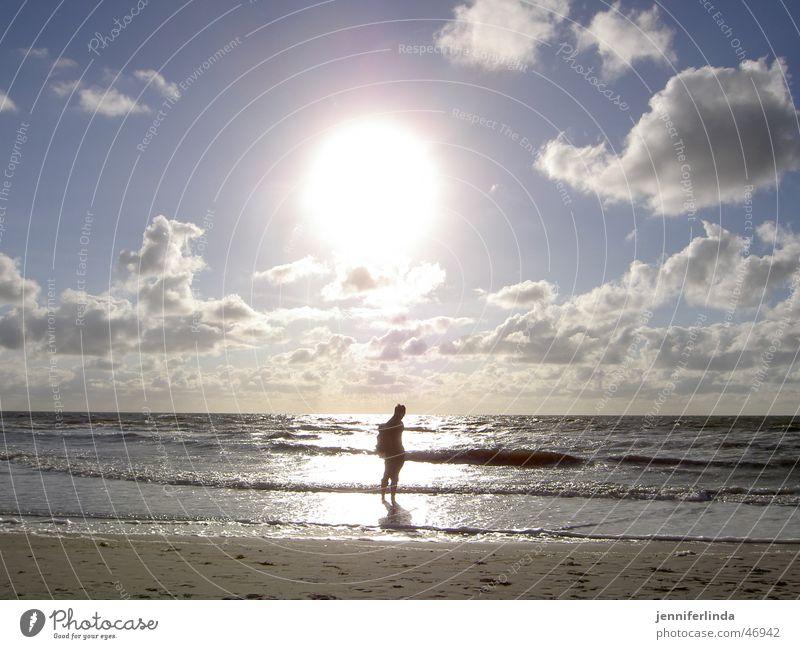 Enlightenment Beach Loneliness Hiking Illumination Back-light Sun North Sea