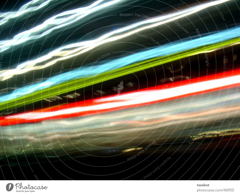 long-term lighting Light Long exposure Strip of light Red Green White Dark Black Neon light Advertising Action Blue Bright Distorted Muddled Movement motion