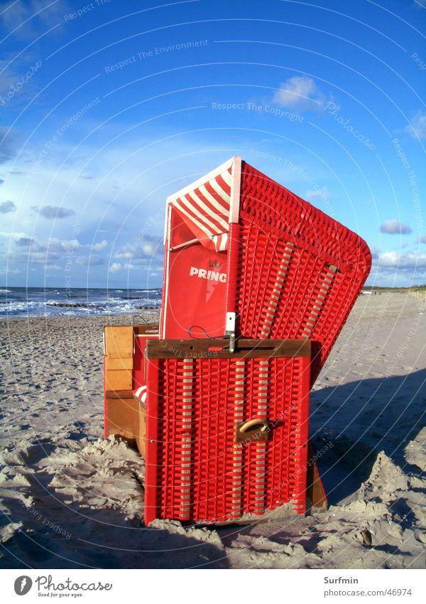 beach chair Beach chair Ahrenshoop Ocean Red Baltic Sea Sky prince