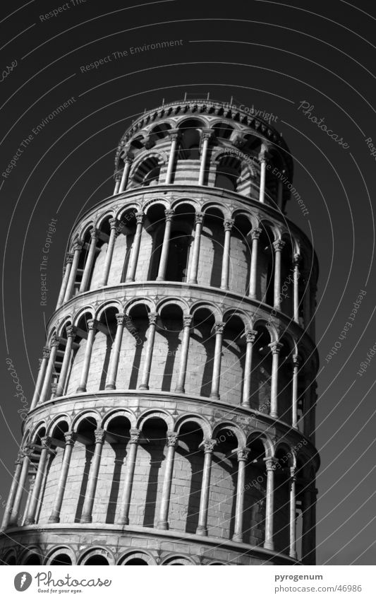 Leaning tourist attraction Black White PISA study Tower Tall Contrast Tilt