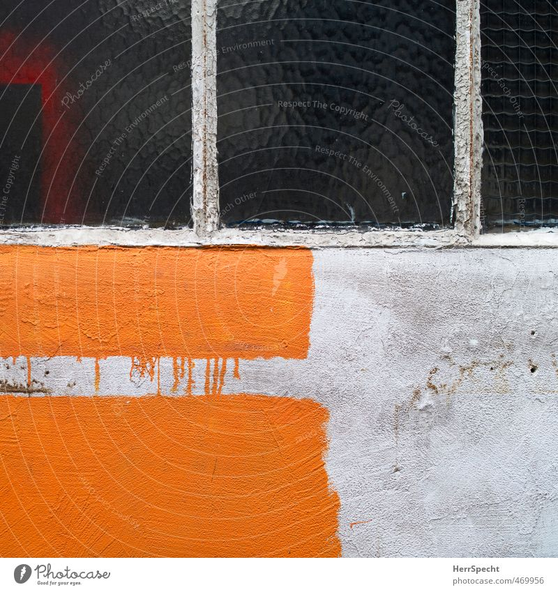 unfinished Paris Town Old town Wall (barrier) Wall (building) Facade Window Trashy Gloomy Gray Orange Dye Painting (action, work) Color gradient Backyard