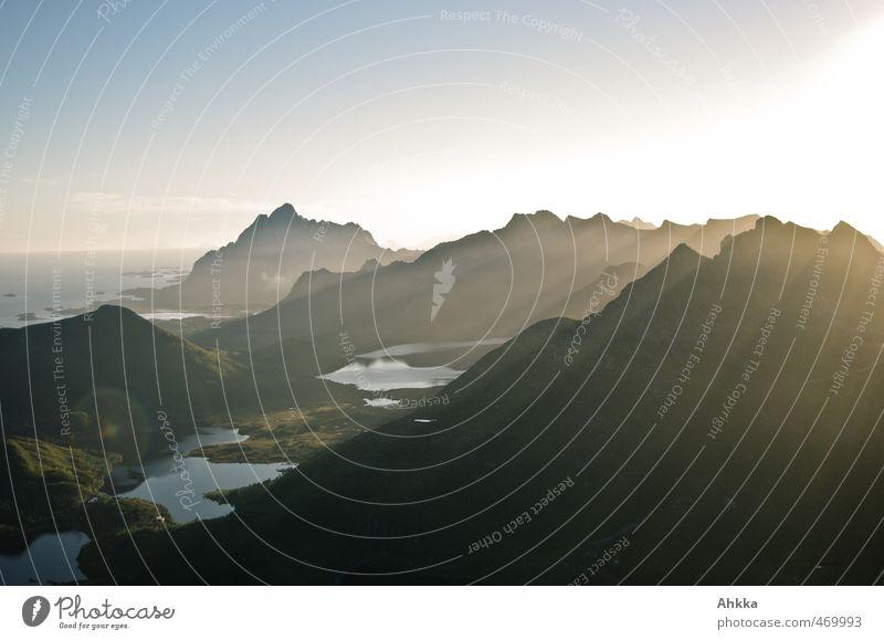 Lofoten IV Exotic Harmonious Vacation & Travel Trip Adventure Far-off places Freedom Expedition Mountain Nature Landscape Cloudless sky Peak Fjord Ocean Lake