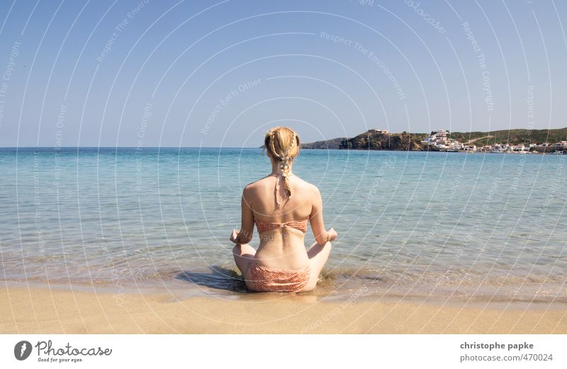 The young woman and the sea Harmonious Well-being Contentment Senses Relaxation Calm Meditation Vacation & Travel Tourism Summer Summer vacation Sun Sunbathing