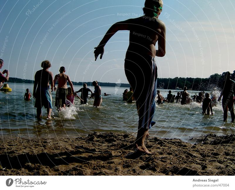 Child Youth (Young adults) Water Sun Summer Beach Joy Cold Lake Swimming & Bathing Walking Wet Fresh Running Bathing place
