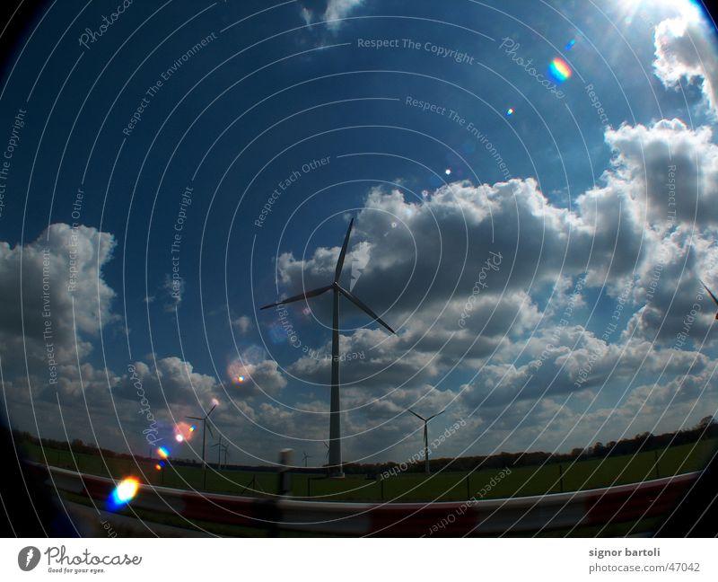 wind farm Fisheye Dazzle Clouds Wind energy plant Sky know Dynamics Blue