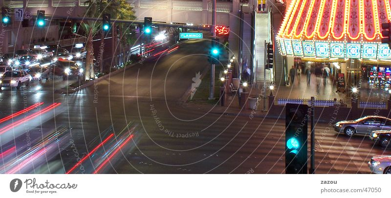 Green Street Car Lighting Transport Driving Americas Traffic light Mixture Las Vegas