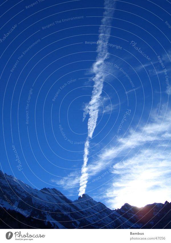 Sky Sun Blue Clouds Snow Mountain Vapor trail