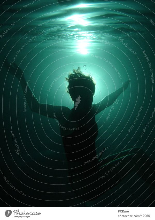 drowned Back-light Waves Woman Dark Jump Creepy Underwater photo Water Human being Death Hair and hairstyles