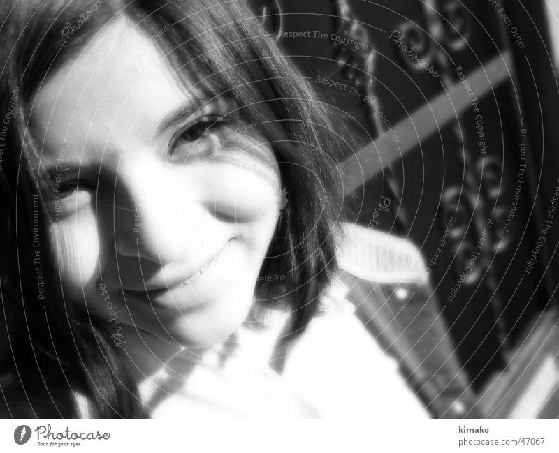 Chapis Girl Grinning Infrared face Black & white photo kimako Black and white Laughter