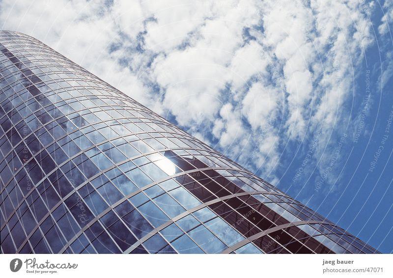Sky Blue Clouds Glass High-rise Modern Mirror Upward Diagonal Partially visible Section of image Glas facade Glazed facade Cloud field Skyward