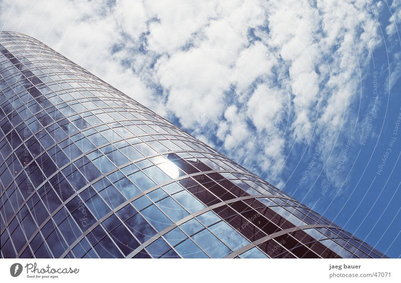 Sky Blue Clouds Glass High-rise Modern Mirror Upward Diagonal Partially visible Section of image Glas facade Glazed facade Cloud field Skyward Modern architecture