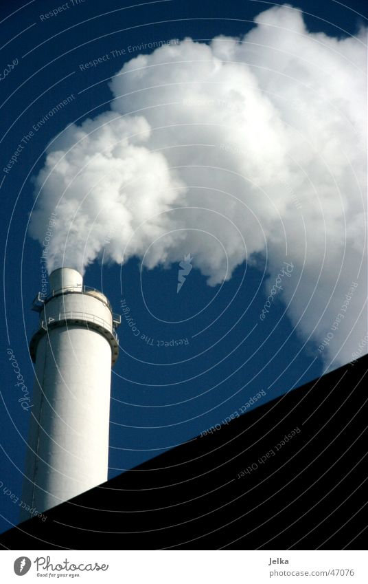Sky Blue White Industrial Photography Exhaust gas Chimney Steam Environmental pollution Fog cloud