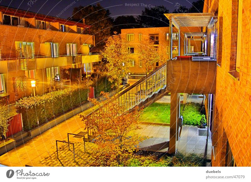 Home@Night House (Residential Structure) Dark Light Long exposure Lantern Lamp Autumn Double exposure house row Bright Stairs Evening Summer