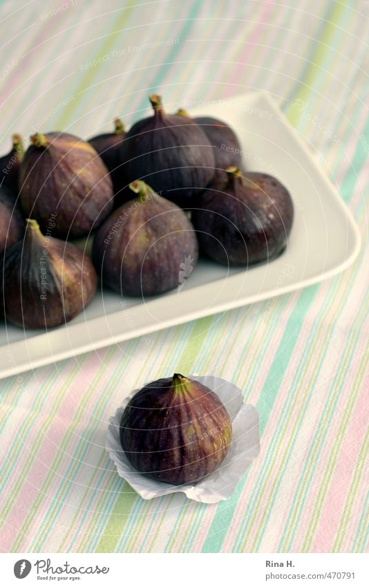 figs Fruit Fig Vegetarian diet Crockery Plate Authentic Fresh Healthy Delicious Sweet Vitamin Colour photo Exterior shot Deserted Copy Space top