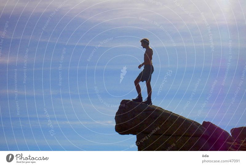 Man Sky Mountain Freedom Free Rock Vantage point Peak Deep Edge