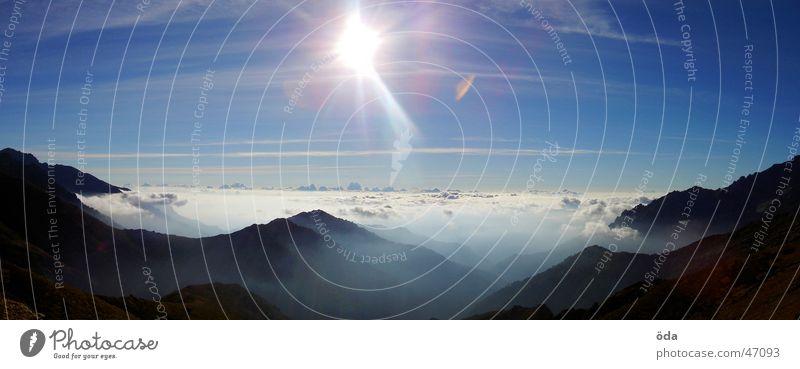 Sun Clouds Mountain Fog Large Horizon Vantage point Panorama (Format) Corsica